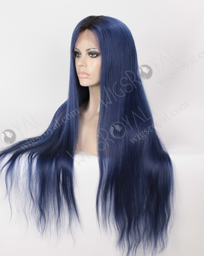 Silky Straight Long Ombre Color 1B#/Blue European Virgin Hair Wigs WR-LW-153