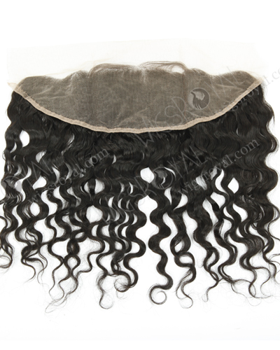"In Stock Indian Remy Hair 12"" Natural Curly Natural Color Lace Frontal SKF-076"