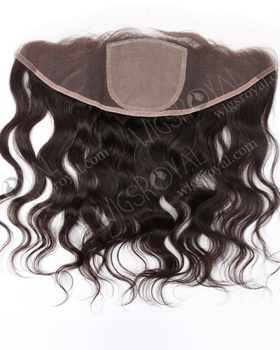 "In Stock Indian Virgin Hair 14"" Natural Wave Natural Color Silk Top Lace Frontal SKF-068"