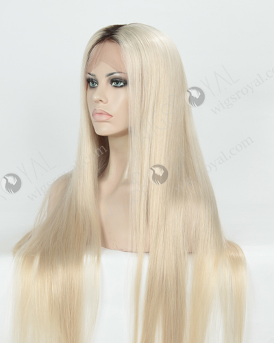 Silky Straight Long T Natural/White Color European Virgin Hair Wigs WR-LW-156