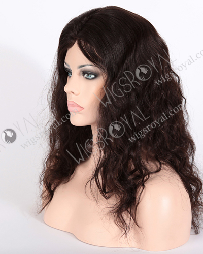 "In Stock Brazilian Virgin Hair 18"" Natural Wave Natural Color Glueless Silk Top Wig GL-04029"