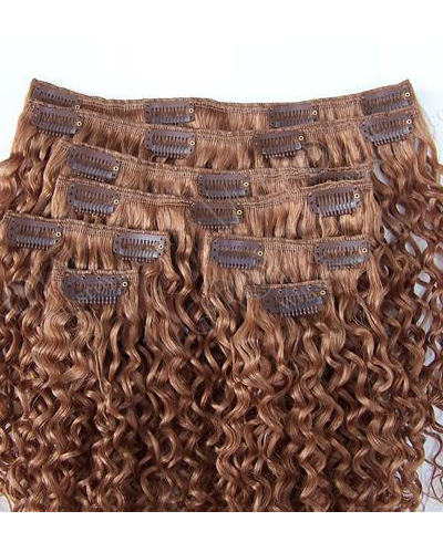 Hot Selling 7A Grade curly human hair clip in weft WR-CW-009