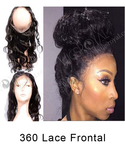 "In Stock Chinese Virgin Hair 14"" Natural Wave Natural Color 360 Lace Frontal 360SF-032"