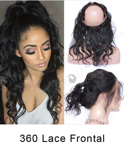 "In Stock Brazilian Virgin Hair 14"" Natural Wave Natural Color 360 Lace Frontal 360SF-053"