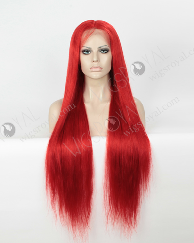 Silky Straight Long Red Color European Virgin Hair Wigs WR-LW-154