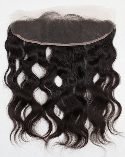 "In Stock Brazilian Virgin Hair 16"" Natural Wave Natural Color Lace Frontal SKF-007"