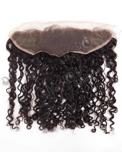 "In Stock Indian Remy Hair 16"" Tight Curl Natural Color Lace Frontal SKF-080"